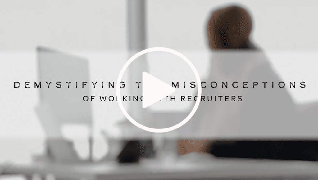 Demystifying Misconceptions of Working With Recruiters – Video Play Button